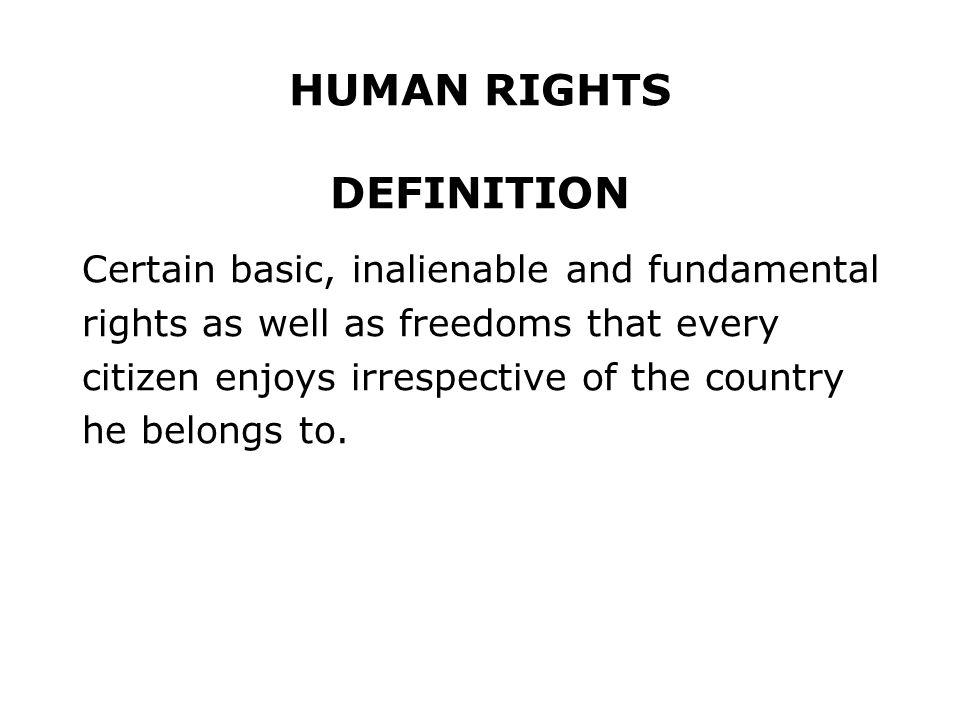 HUMAN RIGHTS DEFINITION