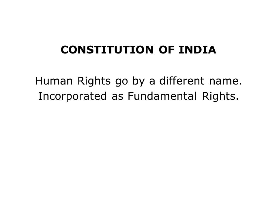 Human Rights go by a different name.