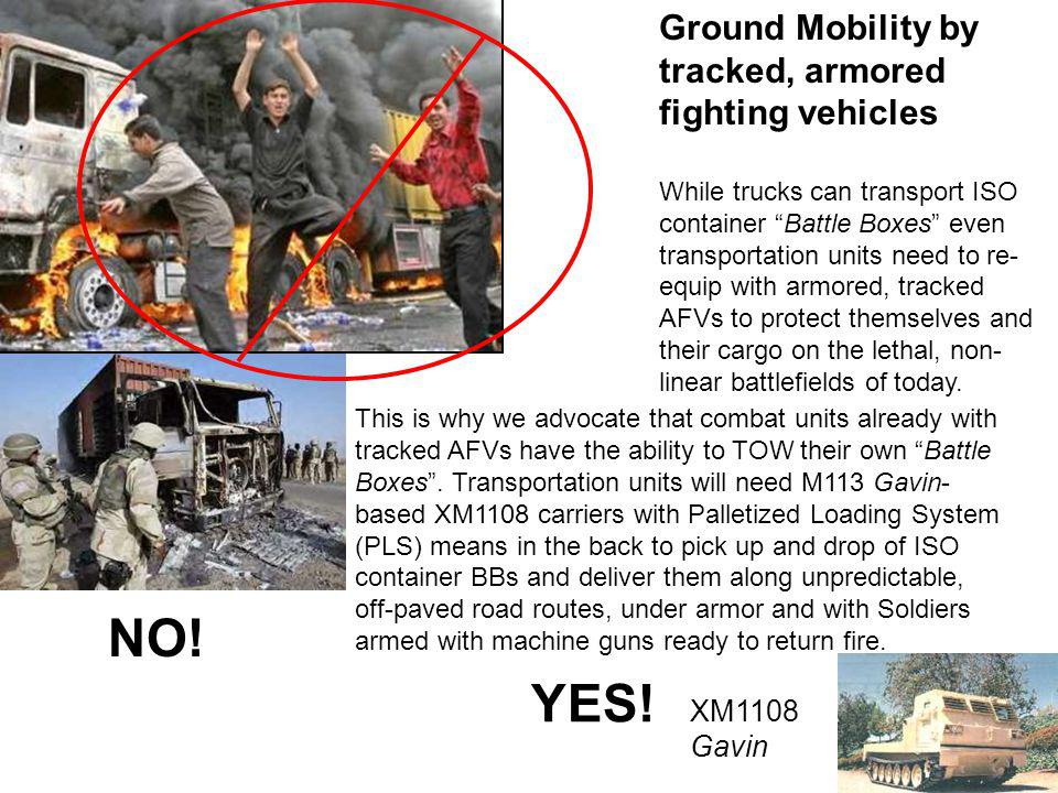 NO! YES! Ground Mobility by tracked, armored fighting vehicles XM1108