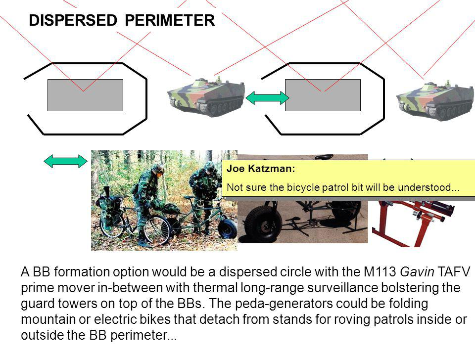 DISPERSED PERIMETER Joe Katzman: Not sure the bicycle patrol bit will be understood...