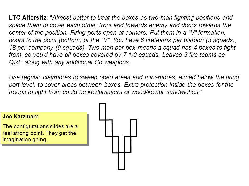 LTC Altersitz: Almost better to treat the boxes as two-man fighting positions and space them to cover each other, front end towards enemy and doors towards the center of the position. Firing ports open at corners. Put them in a V formation, doors to the point (bottom) of the V . You have 6 fireteams per platoon (3 squads), 18 per company (9 squads). Two men per box means a squad has 4 boxes to fight from, so you d have all boxes covered by 7 1/2 squads. Leaves 3 fire teams as QRF, along with any additional Co weapons.