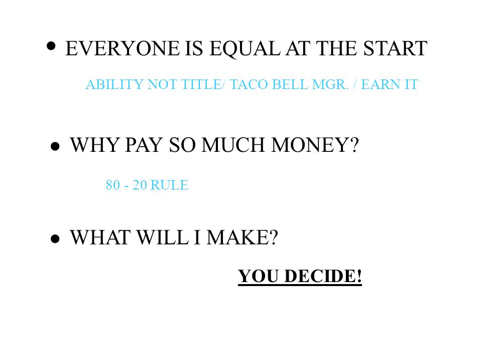 · · · EVERYONE IS EQUAL AT THE START WHY PAY SO MUCH MONEY
