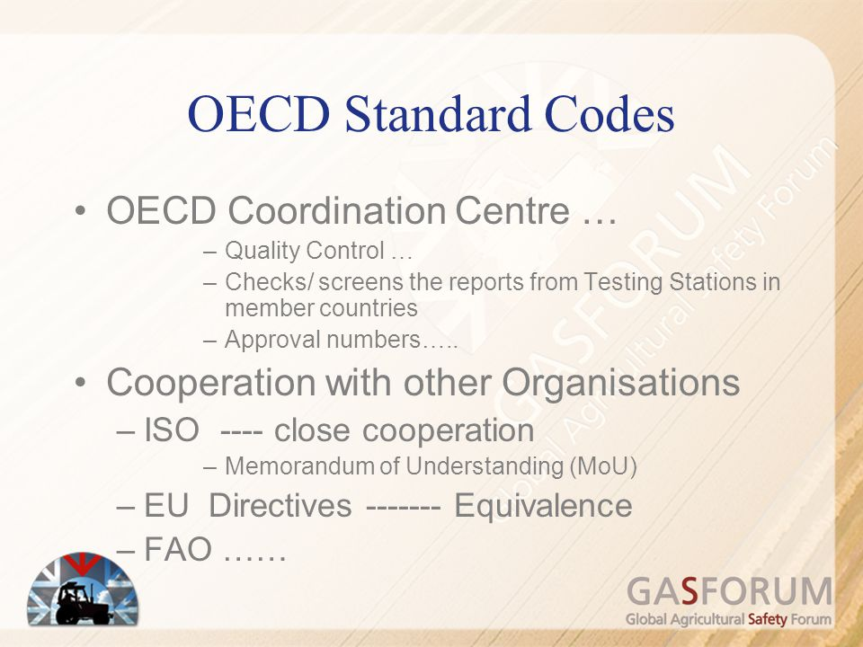 OECD Standard Codes OECD Coordination Centre …