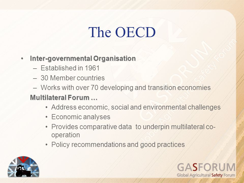 The OECD Inter-governmental Organisation Established in 1961