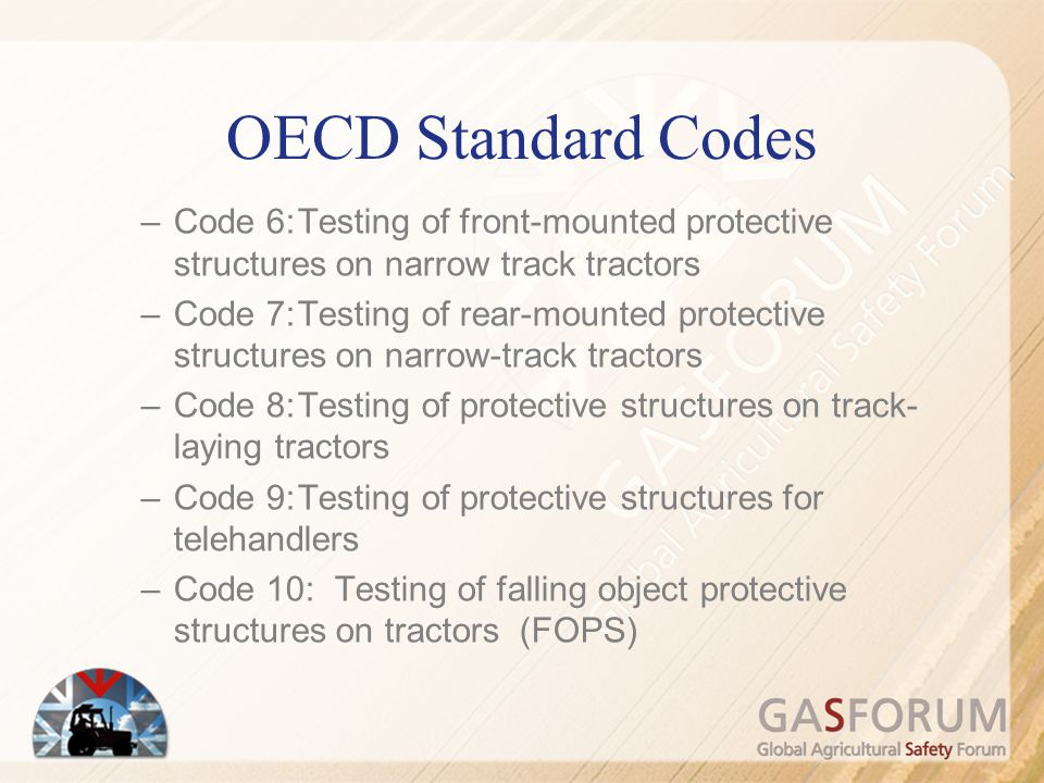 OECD Standard Codes Code 6: Testing of front-mounted protective structures on narrow track tractors.