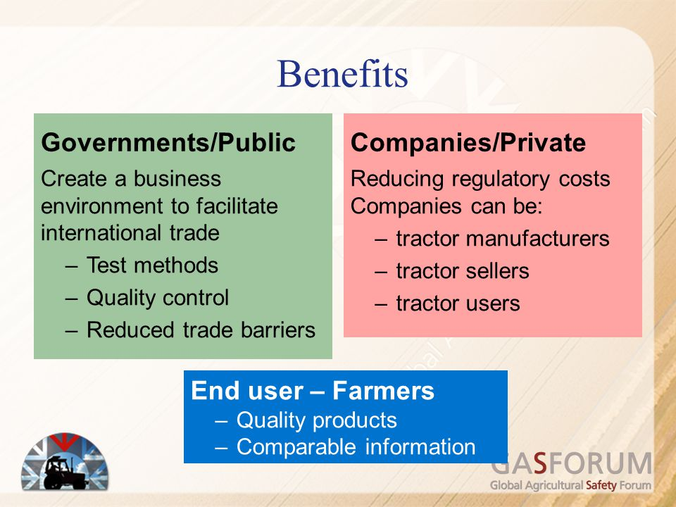 Benefits Governments/Public Companies/Private End user – Farmers