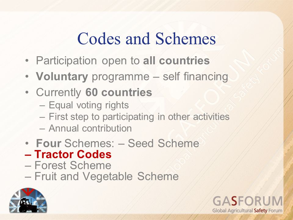 Codes and Schemes Participation open to all countries