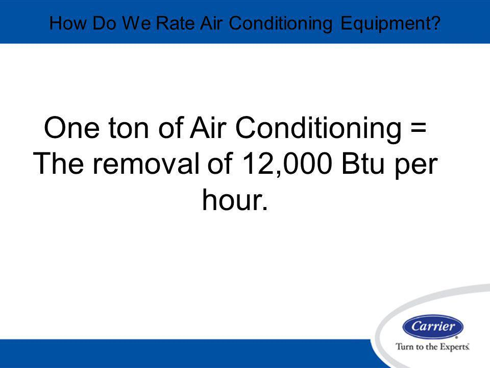 One ton of Air Conditioning = The removal of 12,000 Btu per hour.