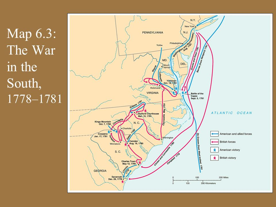 Map 6.3: The War in the South, 1778–1781