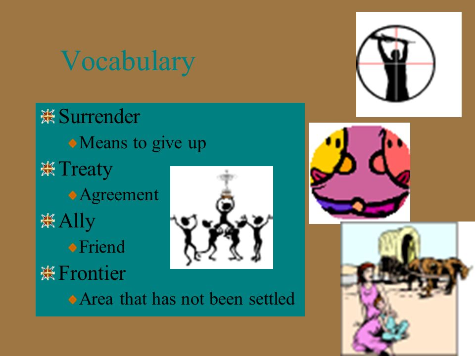 Vocabulary Surrender Treaty Ally Frontier Means to give up Agreement