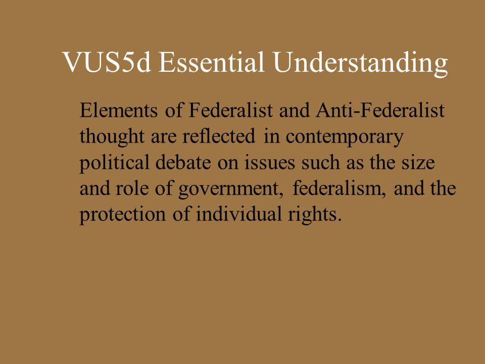 VUS5d Essential Understanding