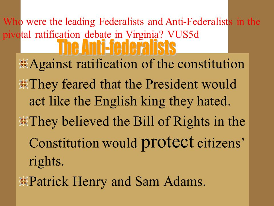 Against ratification of the constitution