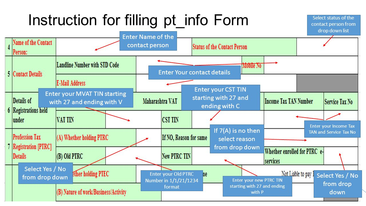 Instruction for filling pt_info Form