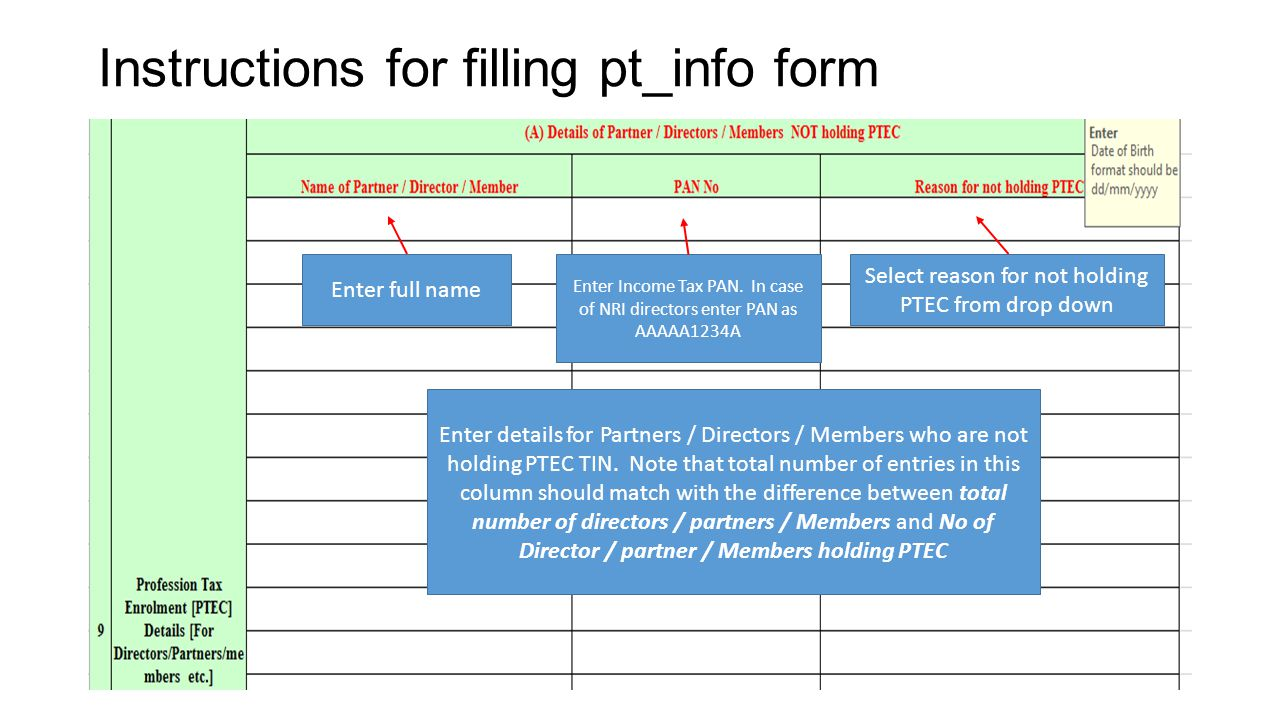 Instructions for filling pt_info form