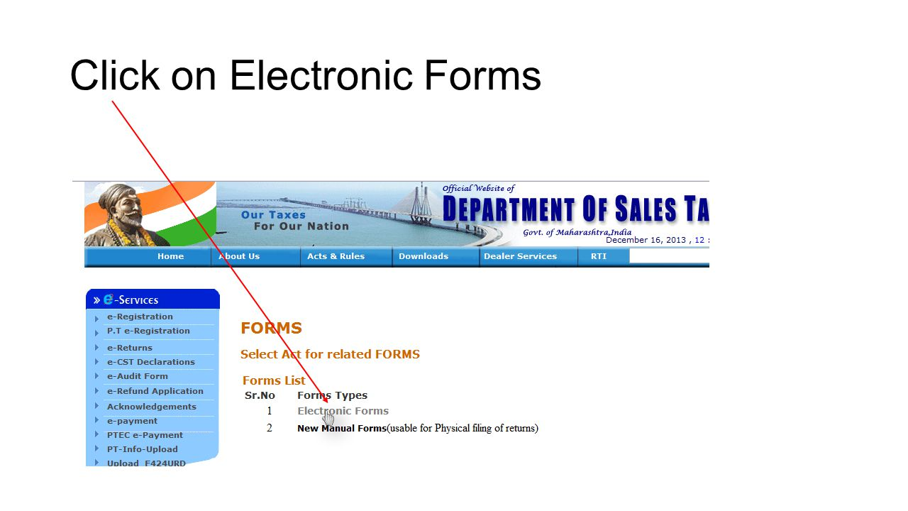 Click on Electronic Forms
