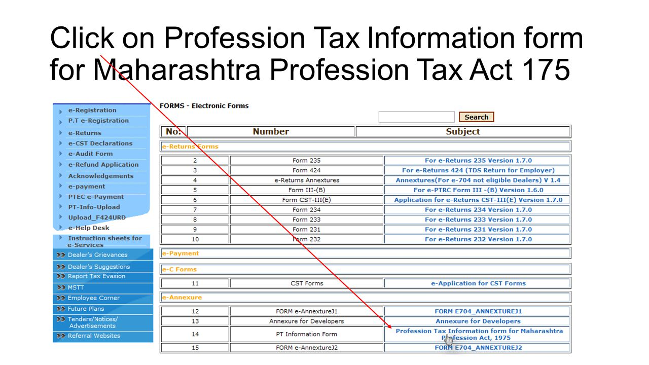Click on Profession Tax Information form for Maharashtra Profession Tax Act 175