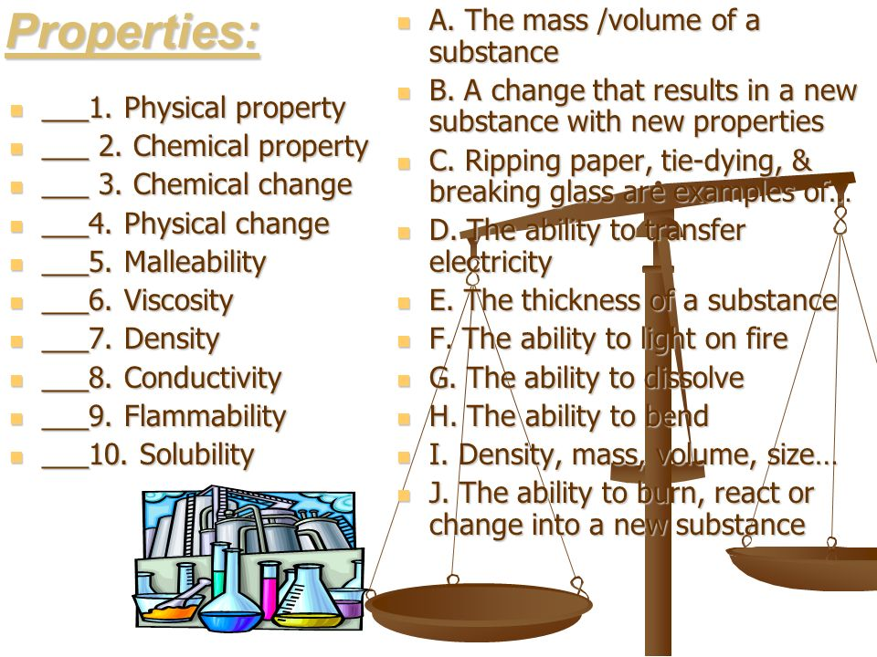 Properties: A. The mass /volume of a substance
