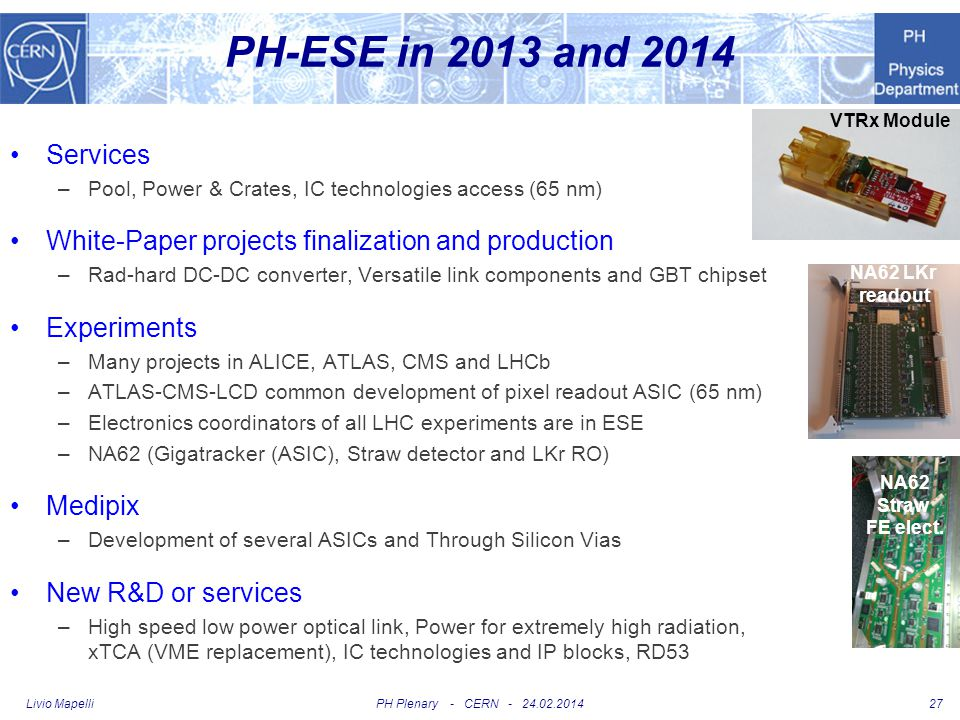PH-ESE in 2013 and 2014 VTRx Module. Services. Pool, Power & Crates, IC technologies access (65 nm)