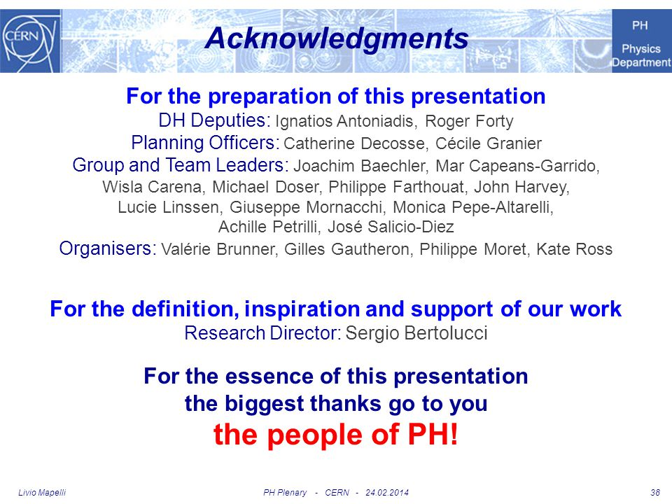 Acknowledgments the people of PH!