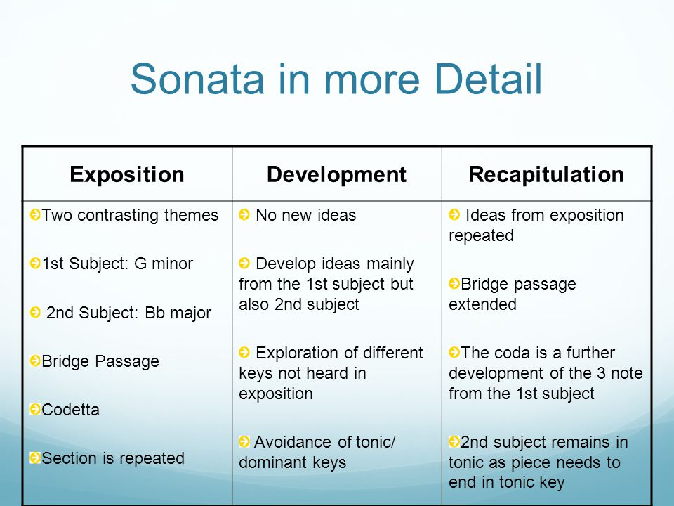 Sonata in more Detail Exposition Development Recapitulation