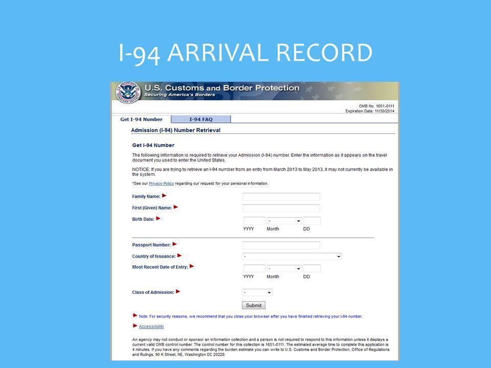 I-94 ARRIVAL RECORD