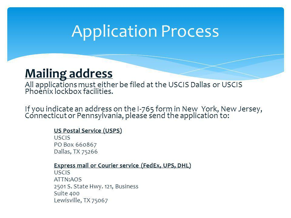 Application Process Mailing address