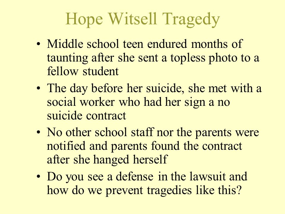 Hope Witsell Tragedy Middle school teen endured months of taunting after she sent a topless photo to a fellow student.