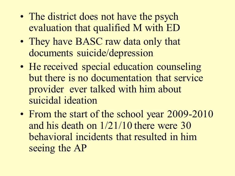 The district does not have the psych evaluation that qualified M with ED