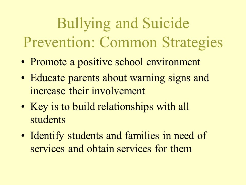 Bullying and Suicide Prevention: Common Strategies