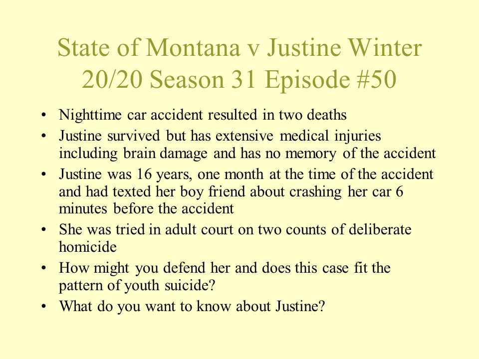 State of Montana v Justine Winter 20/20 Season 31 Episode #50