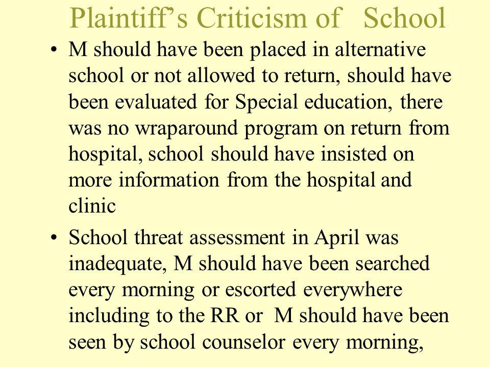 Plaintiff's Criticism of School