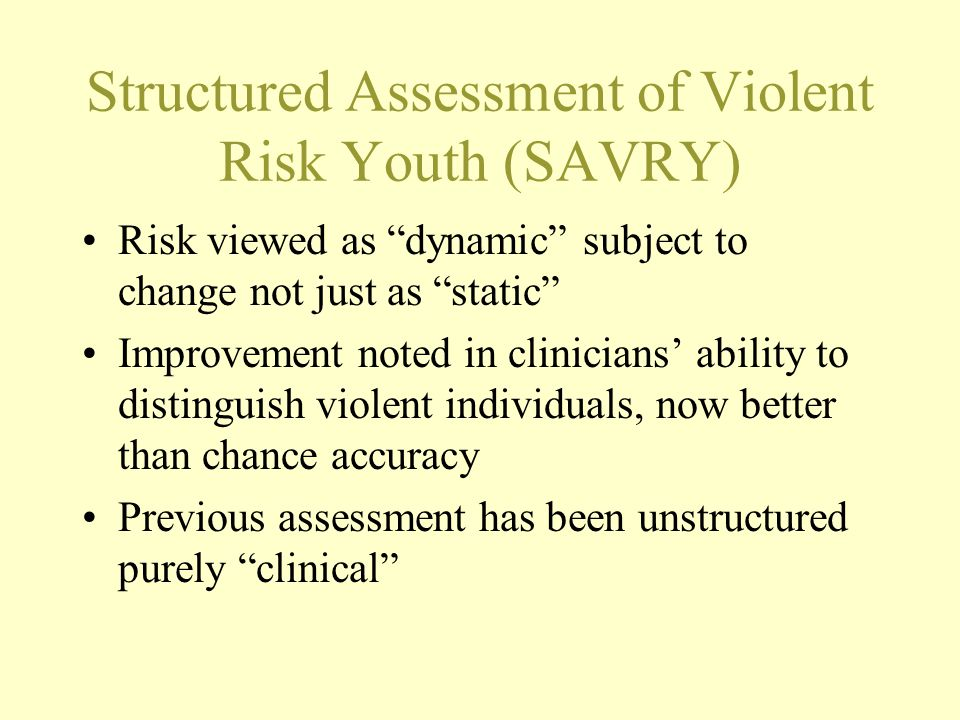 Structured Assessment of Violent Risk Youth (SAVRY)