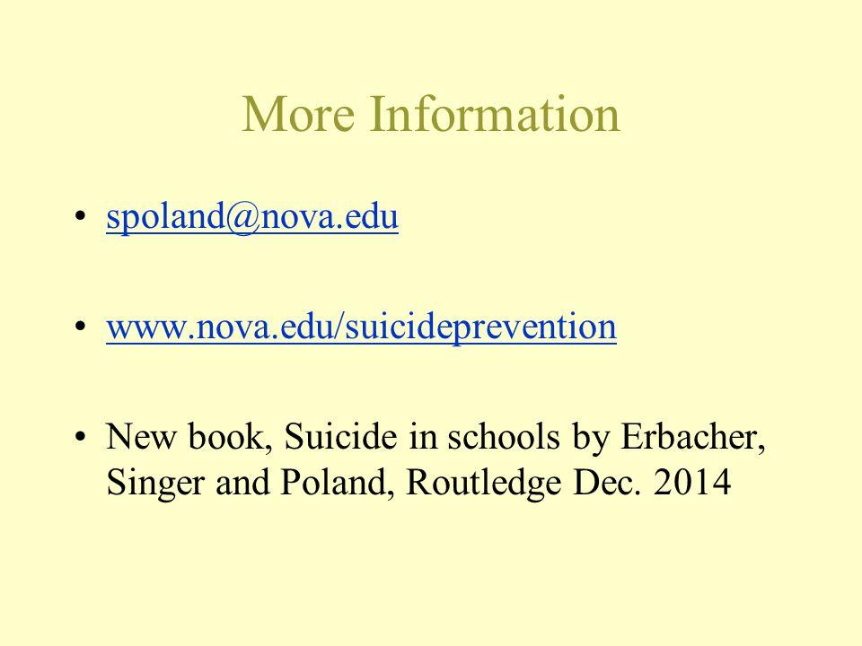 More Information spoland@nova.edu www.nova.edu/suicideprevention