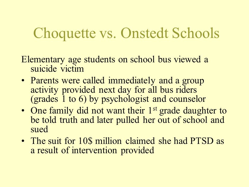 Choquette vs. Onstedt Schools