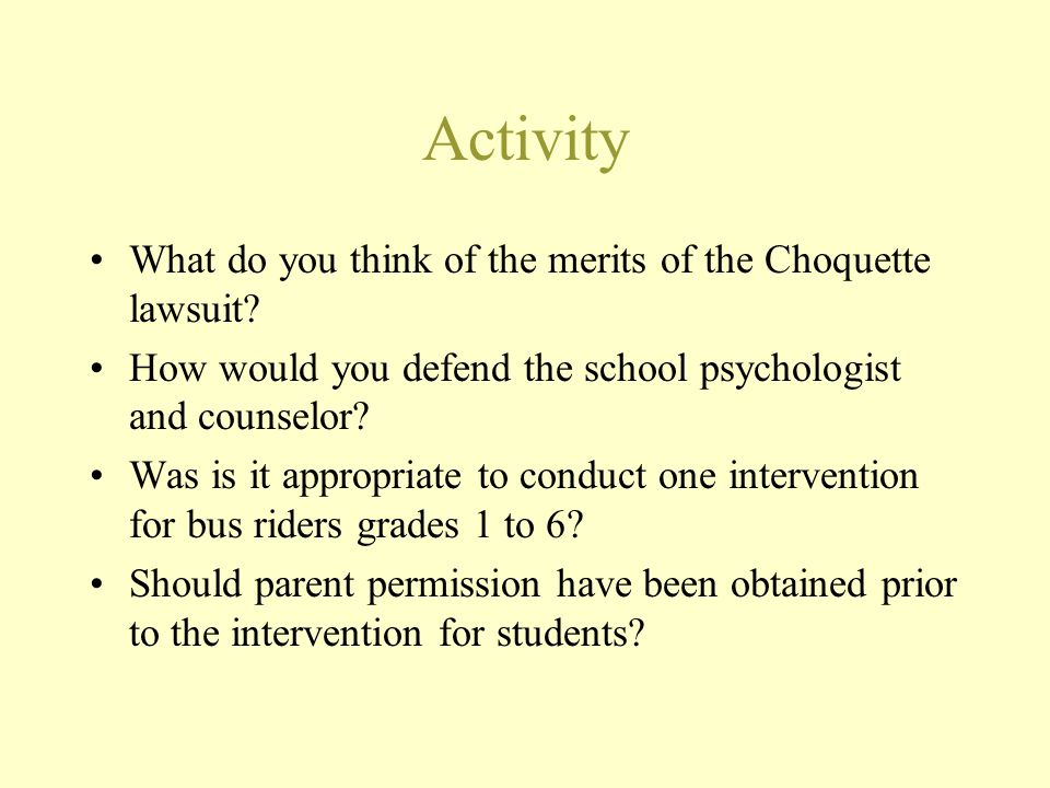 Activity What do you think of the merits of the Choquette lawsuit