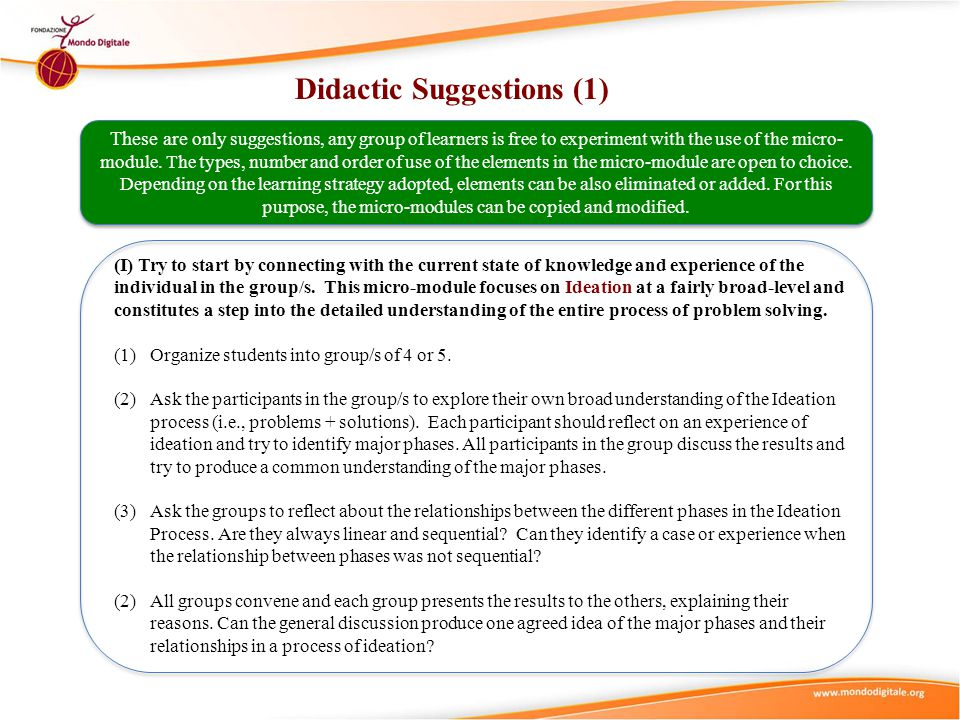 Didactic Suggestions (1)