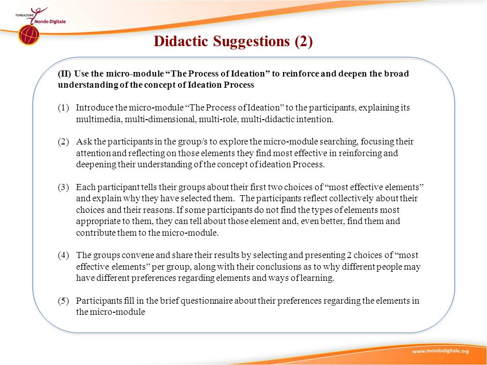 Didactic Suggestions (2)