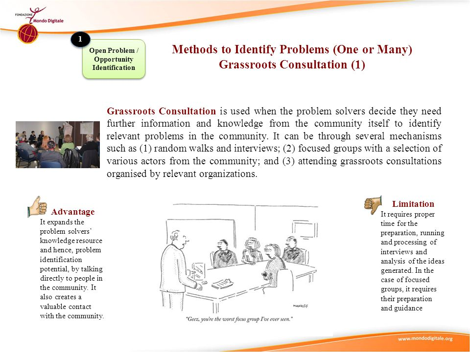 Methods to Identify Problems (One or Many) Grassroots Consultation (1)