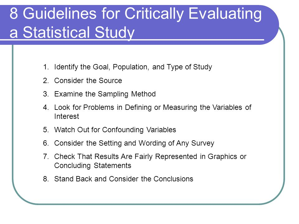 8 Guidelines for Critically Evaluating a Statistical Study