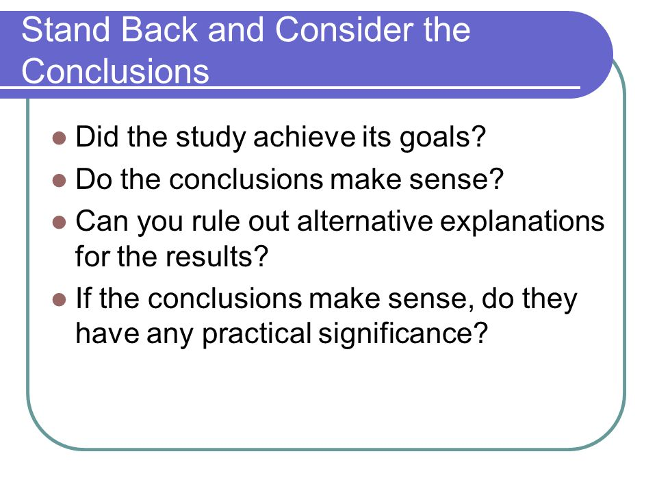 conclusions of the study of evaluation