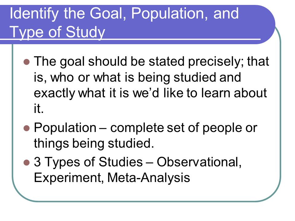Identify the Goal, Population, and Type of Study