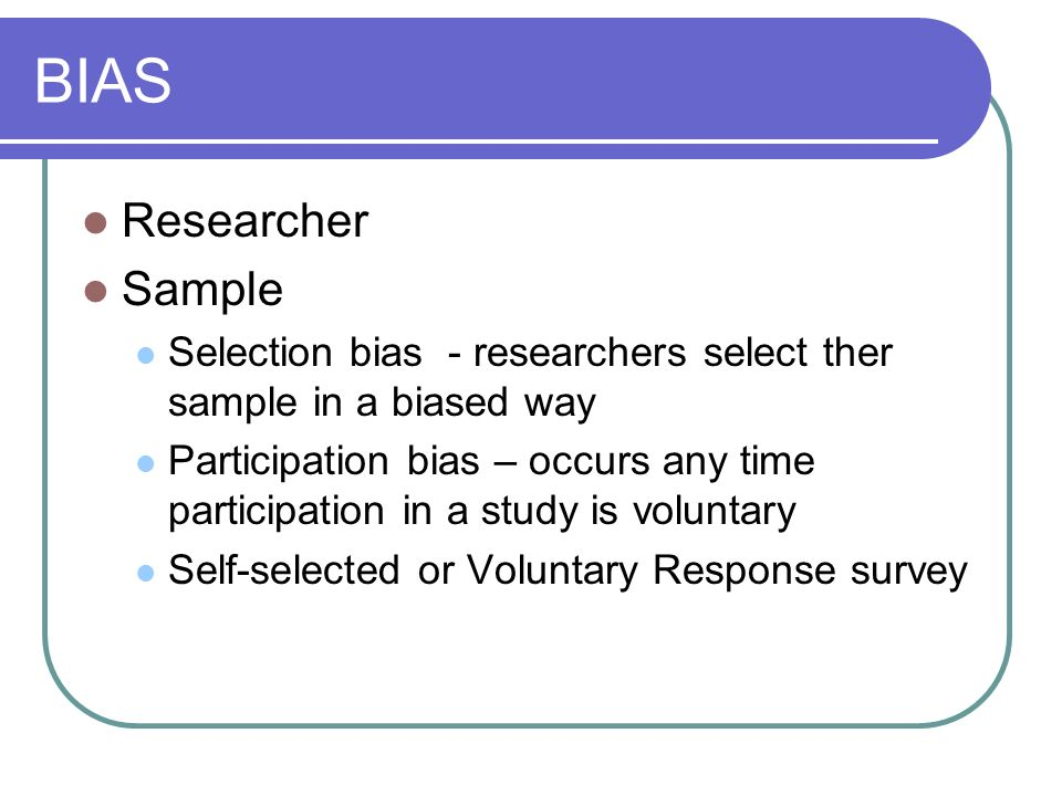 BIAS Researcher Sample