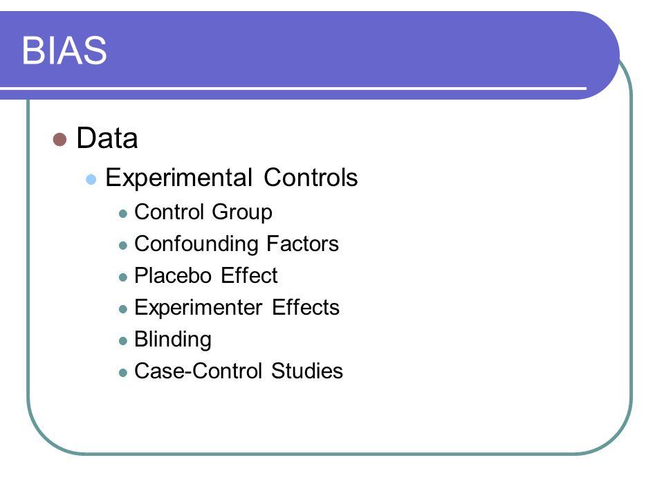 BIAS Data Experimental Controls Control Group Confounding Factors
