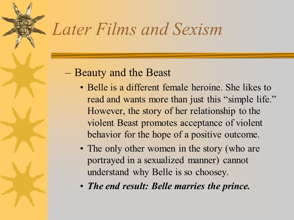 Later Films and Sexism Beauty and the Beast
