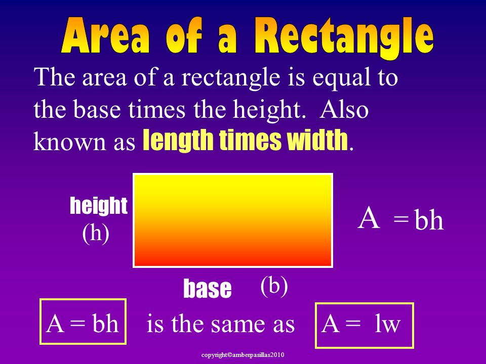 Area of a RectangleThe area of a rectangle is equal to the base times the height. Also known as length times width.