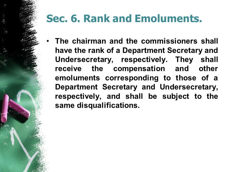 Sec. 6. Rank and Emoluments.