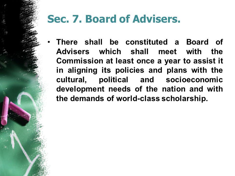Sec. 7. Board of Advisers.