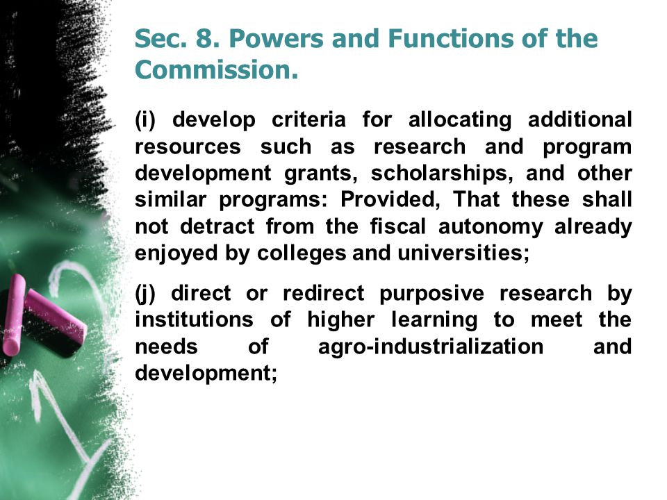 Sec. 8. Powers and Functions of the Commission.
