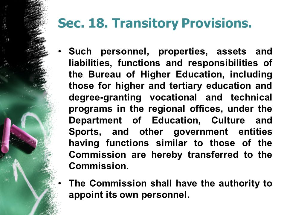 Sec. 18. Transitory Provisions.