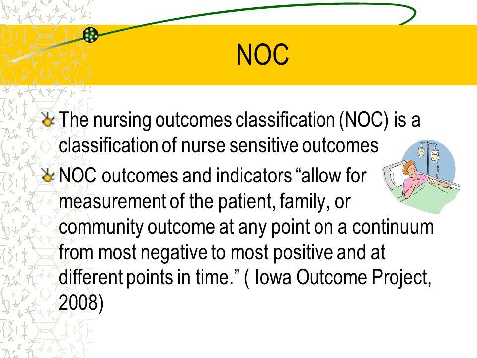 NOC The nursing outcomes classification (NOC) is a classification of nurse sensitive outcomes.